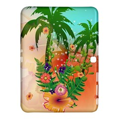 Tropical Design With Palm And Flowers Samsung Galaxy Tab 4 (10.1 ) Hardshell Case