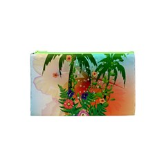 Tropical Design With Palm And Flowers Cosmetic Bag (xs)