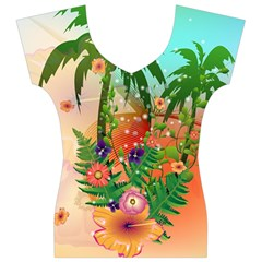 Tropical Design With Palm And Flowers Women s V-Neck Cap Sleeve Top