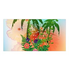 Tropical Design With Palm And Flowers Satin Shawl