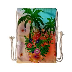 Tropical Design With Palm And Flowers Drawstring Bag (small)