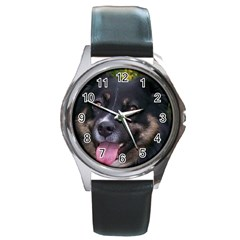 Australian Shepherd Black Tri Round Metal Watches
