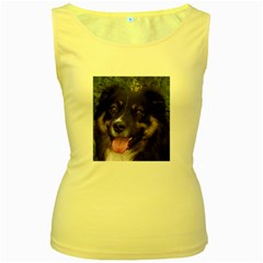Australian Shepherd Black Tri Women s Yellow Tank Tops