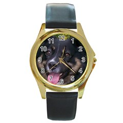 Australian Shepherd Black Tri Round Gold Metal Watches
