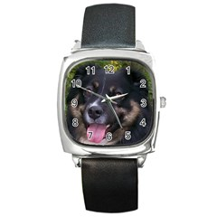 Australian Shepherd Black Tri Square Metal Watches