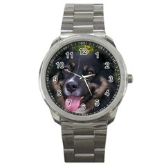 Australian Shepherd Black Tri Sport Metal Watches