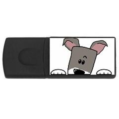 Peeping Miniature Schnauzer USB Flash Drive Rectangular (2 GB)