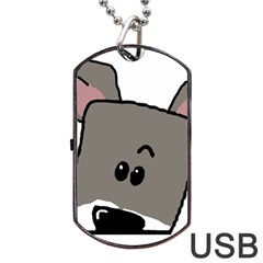 Peeping Miniature Schnauzer Dog Tag USB Flash (Two Sides)