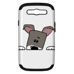 Peeping Miniature Schnauzer Samsung Galaxy S III Hardshell Case (PC+Silicone)
