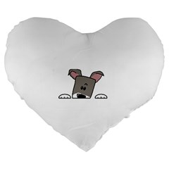 Peeping Miniature Schnauzer Large 19  Premium Heart Shape Cushions