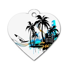 Surfing Dog Tag Heart (one Side)