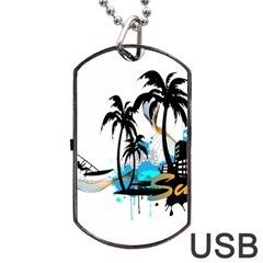 Surfing Dog Tag USB Flash (One Side)