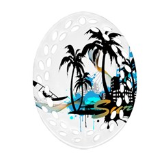 Surfing Oval Filigree Ornament (2 Side)