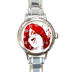 Women face with clef Round Italian Charm Watches