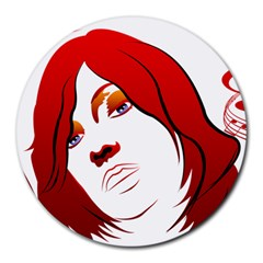 Women face with clef Round Mousepads