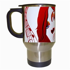 Women face with clef Travel Mugs (White)