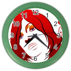 Women face with clef Color Wall Clocks
