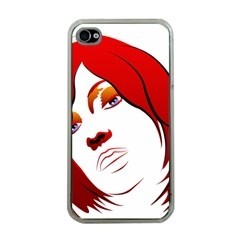 Women face with clef Apple iPhone 4 Case (Clear)