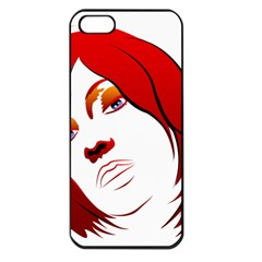 Women face with clef Apple iPhone 5 Seamless Case (Black)