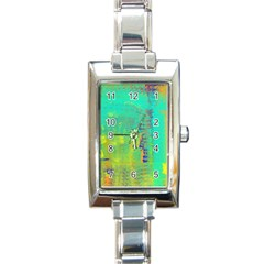 Abstract in Turquoise, Gold, and Copper Rectangle Italian Charm Watches