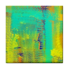 Abstract in Turquoise, Gold, and Copper Tile Coasters