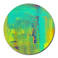Abstract in Turquoise, Gold, and Copper Round Mousepads