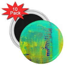 Abstract In Turquoise, Gold, And Copper 2 25  Magnets (10 Pack)