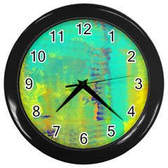 Abstract in Turquoise, Gold, and Copper Wall Clocks (Black)