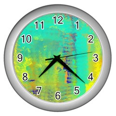 Abstract in Turquoise, Gold, and Copper Wall Clocks (Silver)