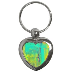 Abstract in Turquoise, Gold, and Copper Key Chains (Heart)