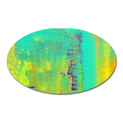 Abstract In Turquoise, Gold, And Copper Oval Magnet