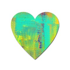 Abstract In Turquoise, Gold, And Copper Heart Magnet
