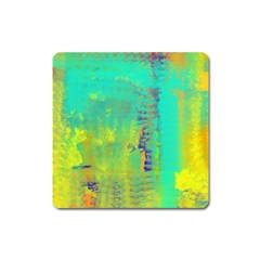 Abstract in Turquoise, Gold, and Copper Square Magnet