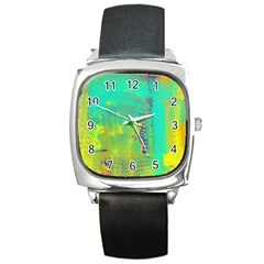 Abstract in Turquoise, Gold, and Copper Square Metal Watches