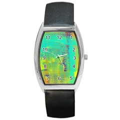 Abstract in Turquoise, Gold, and Copper Barrel Metal Watches