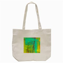 Abstract in Turquoise, Gold, and Copper Tote Bag (Cream)