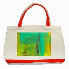 Abstract in Turquoise, Gold, and Copper Classic Tote Bag (Red)