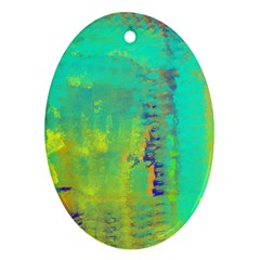 Abstract In Turquoise, Gold, And Copper Oval Ornament (two Sides)