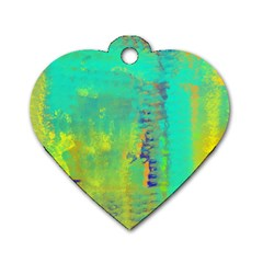 Abstract in Turquoise, Gold, and Copper Dog Tag Heart (Two Sides)