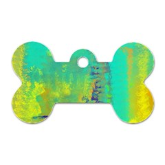 Abstract In Turquoise, Gold, And Copper Dog Tag Bone (one Side)