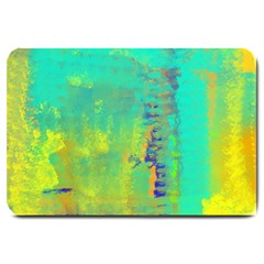 Abstract In Turquoise, Gold, And Copper Large Doormat
