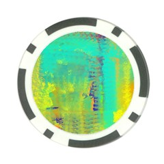 Abstract In Turquoise, Gold, And Copper Poker Chip Card Guards