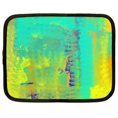 Abstract in Turquoise, Gold, and Copper Netbook Case (Large)