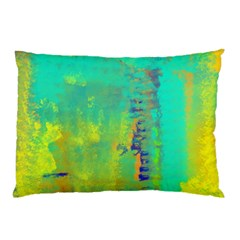 Abstract In Turquoise, Gold, And Copper Pillow Cases