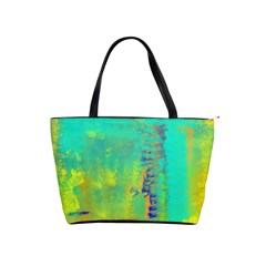 Abstract In Turquoise, Gold, And Copper Shoulder Handbags