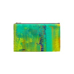 Abstract In Turquoise, Gold, And Copper Cosmetic Bag (small)