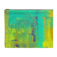 Abstract in Turquoise, Gold, and Copper Cosmetic Bag (XL)