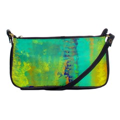 Abstract In Turquoise, Gold, And Copper Shoulder Clutch Bags