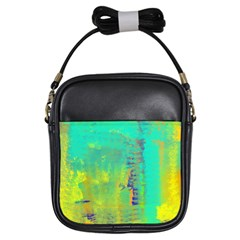 Abstract in Turquoise, Gold, and Copper Girls Sling Bags