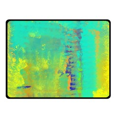 Abstract In Turquoise, Gold, And Copper Fleece Blanket (small)